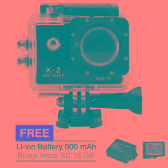 Bcare Action Camera B-Cam X-2 Wifi for Android and iOS - 12 MP 1080P - Hitam + Gratis Li-ion Baterei 900 mAh + micro SD 16 GB