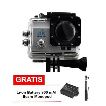 Bcare Action Camera - B-Cam X-3 WiFi - 16MP - Silver + Gratis Monopod +Battery 900 mAh