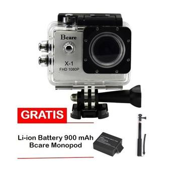 Bcare B-Cam X-1 Action Camera - 12 MP - Silver + Gratis Battery 900 mAh + Monopod