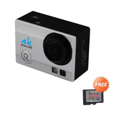 Bcare B-Cam X-3 16MP Silver Action Camera [WiFi/Waterproof 30m/2inch] + Bcare SD Card 16GB