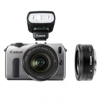 Canon EOS-M 22mm+18-55mm+90EX+Adapter for EF_Silver