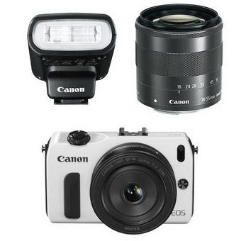 Canon EOS-M 22mm + 18-55mm + 90EX + Adapter for EF White + 16GB Set