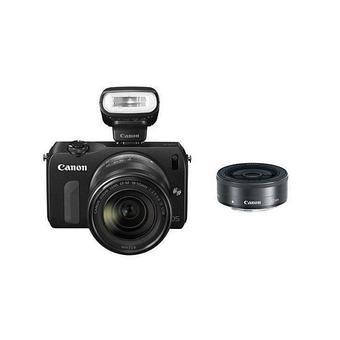 Canon EOS M Camera with EF-M 18-55mm and 22mm Lens and Speedlite 90EX Black
