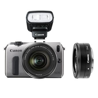 Canon EOS M (Silver) with 18-55mm IS + 22mm + 90EX Flash Kit