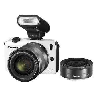 Canon EOS M (White) with 18-55mm IS + 22mm + 90EX Flash Kit