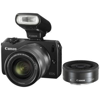 Canon EOS M2 Black Camera with 18-55mm and 22mm Twin lens kit and 90EX flash (Black)