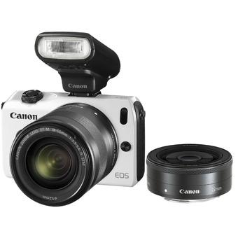 Canon EOS M2 White Camera with 18-55mm & 22mm Twin lens kit and 90EX flash (White)