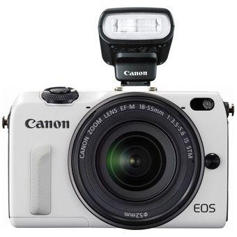 Canon EOS M2 with 18-55mm + 55-200mm + 90EX Flash WHITE