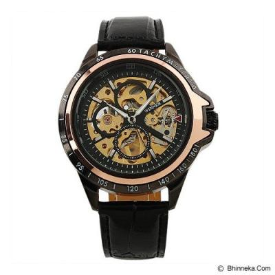 ESS Skeleton Leather Strap Automatic Mechanical Watch [WM267] - Black/Gold