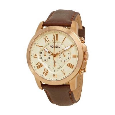 Fossil Grant Chronograph Eggshell Dial Leather Jam Tangan Pria