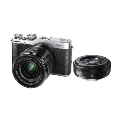Fujifilm X-M1 Double Kit XC16-50mm f/3.5-5.6 OIS & XF27mm f/2.8 Silver Kamera Mirrorless