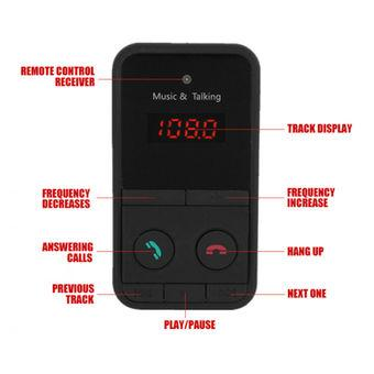 GETEK Wireless Bluetooth FM Transmitter Modulator Car Kit MP3 Player SD USB LCD Remote (Black