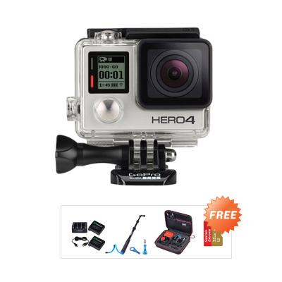 GoPro Hero4 Action Cam - Black + Free Extreme 32 GB + Smatree Case + Smatree Battery Pack + Smatree Pole S1