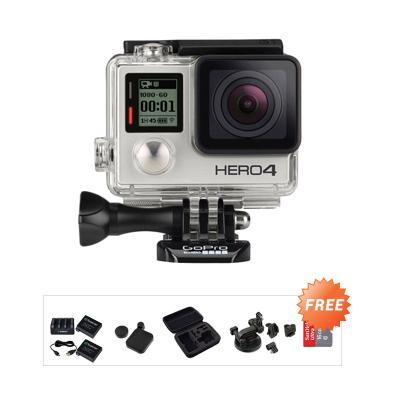 GoPro Hero4 Action Cam - Silver + Free Ultra 16 + 3rd party Medium Case + Smatree Bat Pack + 3rd party Suction Cup