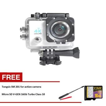 Kogan Action Camera 4K UltraHD - 16MP - Putih - WIFI + Tongsis SM 201 + Microsd vgen 16gb Turbo Class 10