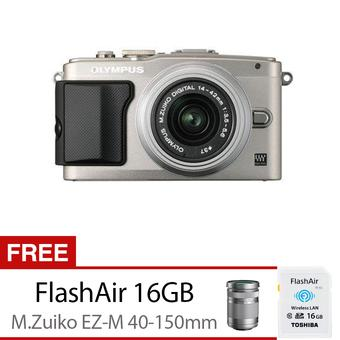 Olympus PEN Lite E-PL6 Camera Kit with 14-42mm + 40-150mm Lens - 16 MP - Silver + Gratis Toshiba FlashAir 16GB