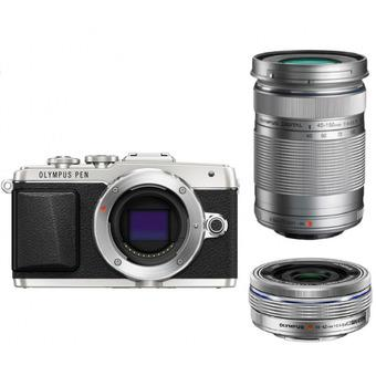 Olympus PEN Lite E-PL7 16MP Camera Silver with 14-42mm + 40-150mm Twin Lens Kit