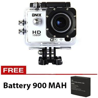 Onix Action Camera 1080p DV603D WIFI With Remote Control - 12MP - Putih + Gratis Battery 900 Mah