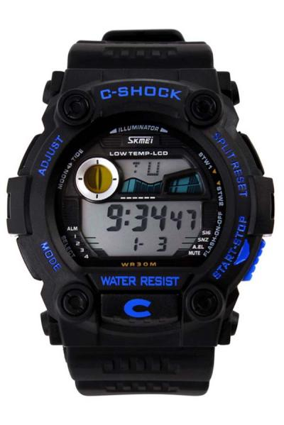 SKMEI Digital Shock Watch Hitam Biru - Jam Tangan Pria
