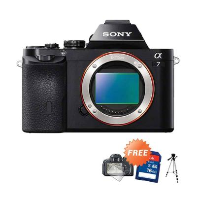 SONY Alpha A7 Kamera DSLR [Body Only] + Sdhc 16 GB + Screen Protector + Promos Tripod