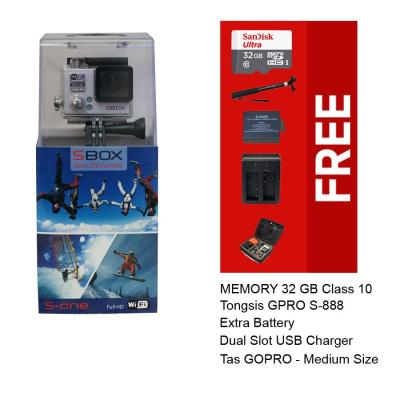 Sbox Action Cam S-One - 12MP - Full HD - Silver, Free Paket Accessories (Brica/Xiaomi Yi Killer)