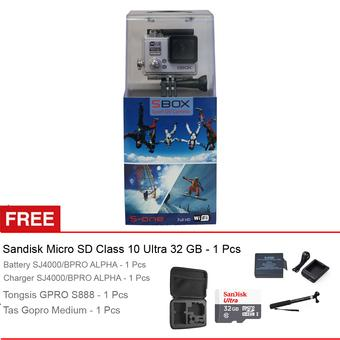 Sbox Action Cam S-One - 12MP - Silver + Gratis Paket Accessories