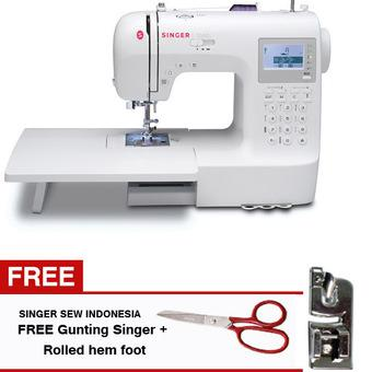 Singer Portable Digital Multifungsi Stylist 9100 + Gratis Gunting Singer Dan Rolled Hem Foot