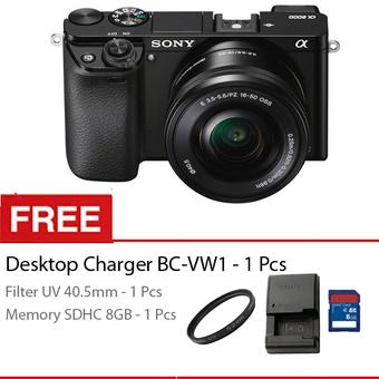 Sony Alpha A6000 - 24 MP - Kit 16-50mm Lens - Hitam + Gratis