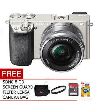 Sony Alpha A6000 Body Only - 24Mp - Putih Kit 16-50mm + Gratis SDHC