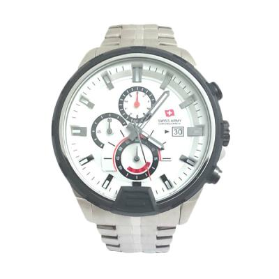 Swiss Army 1164 G Body Silver Bezel Putih Jam Tangan Pria