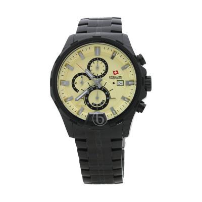 Swiss Army SA 1164 G Rantai Black Stainless (Ipb3) Stopwatch Chronograph Dial Krem Jam