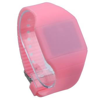Unisex Digital LED Wrist Watch Girl Boy Touch Screen Silicone Sweet Pink