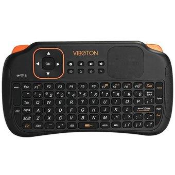 Viboton S1 3-in-1 2.4GHz Wireless Keyboard with Air Mouse and Remote Control with Touchpad for Windows Linux (Black)