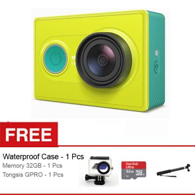 Xiaomi Yi Basic Edition Hijau Action Cam [16 MP] + Gratis Housing + Sandisk Micro SD 32GB + Tongsis GPro S-888