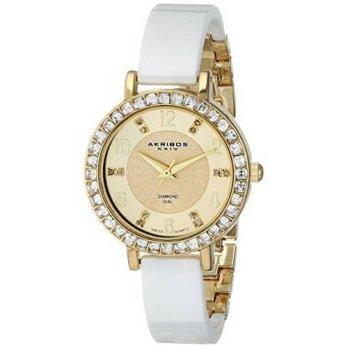 [macyskorea] Akribos XXIV Womens AK758YGW Diamond and Crystal-Accented Watch with Whi/9953677