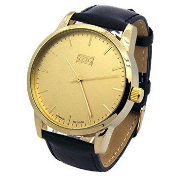 dd973e9695ee  worldbuyer  Black Leather Band Gold Face Mens Bling Watch Watches Leather  Band MN Gold