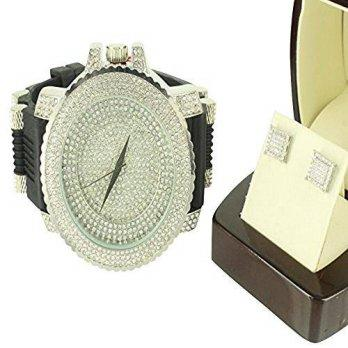 f3628b7047f9  worldbuyer  Diamond   Co. Silicon Bullet Band Watch 14k White Gold Finish  Iced