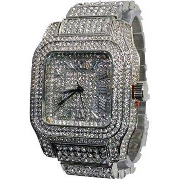2f4a6a72f893  worldbuyer  Enigmatoys Techno Pave Elite Silver Finish Iced Out Lab  Diamond Face Mens Wat