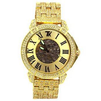e75554990c0e  worldbuyer  L   L Nation Totally Iced Out Pave Mens Gold Tone Automatic Hip