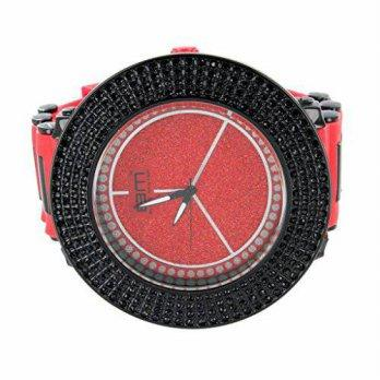aea08031874b  worldbuyer  Master Of Bling Exclusive Red Watch For Men Silicone Band With  Lab Diamond