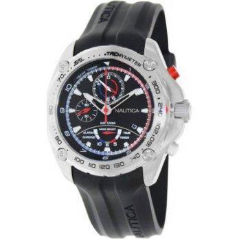 worldbuyer  Nautica Mens Nst A29520G Black Rubber Quartz Watch 1377100 8c93ce75536