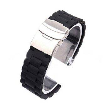 7b93be80fd96  worldbuyer  Tonsee Mens Silicone Rubber Watch Strap Band Waterproof with  Deployment Clasp 1357359