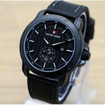 Jam Tangan Pria Swiss Army Date Chrono Second Black Leather Kw Super