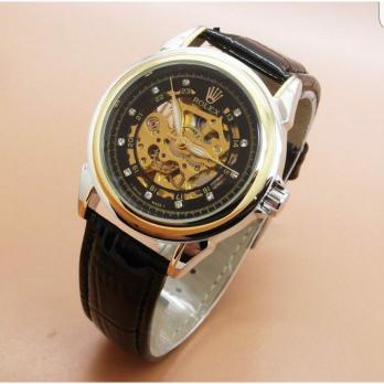 Jam Tangan Rolex skeleton classic black leather list gold