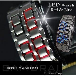LED Watch Tokyoflash Iron Samurai Silver Blue Red Tokyo Flash Jam Tangan
