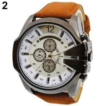 Norate Men Faux Leather Band Analog Quartz Wrist Watch Brown Strap   W 6780bbbfdb