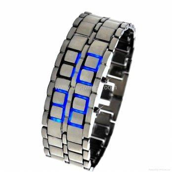 Smart Jam Tangan Silver Blue LED Tokyo Flash Cowok - Silver
