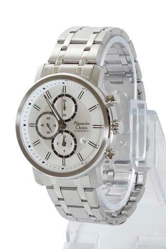 Alexandre Christie Jam Tangan Pria - Putih - Tali Rantai Silver - 6332MC