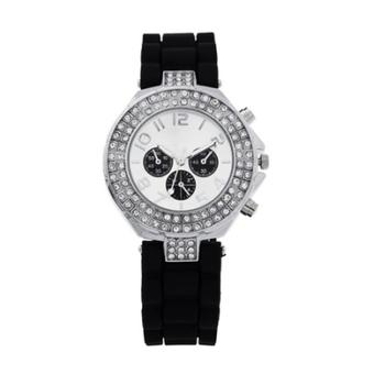 Allwin Charm Crystal Unisex Sport Jelly Silicone Strap Watch Rhinestone Wristwatch (Black)