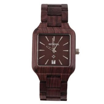 Allwin New BEWELL Cool Men Natural Wooden Quartz Watch Aquare Shape Wristwatch Red (Intl)